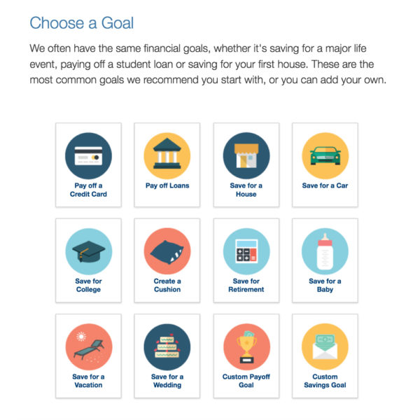 money management app icons representing goals such as pay off a credit card and save for college