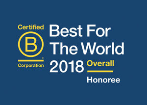 Best for the World 2018 honoree presented by B Corporation