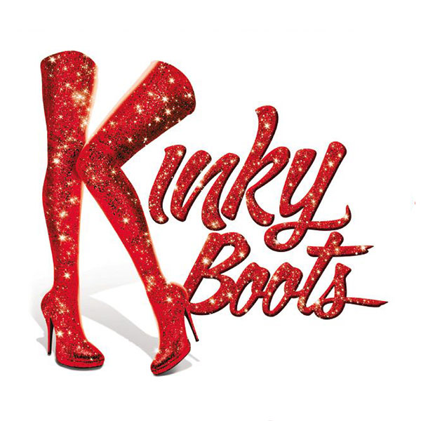 Kinky Boots performance graphic with legs in sparkling red tights high heels in the space of the letter Kay