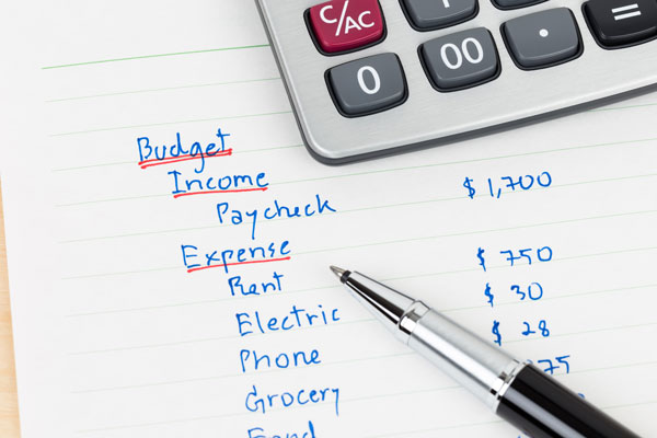 list of budget items in pen, corner of calculator in view