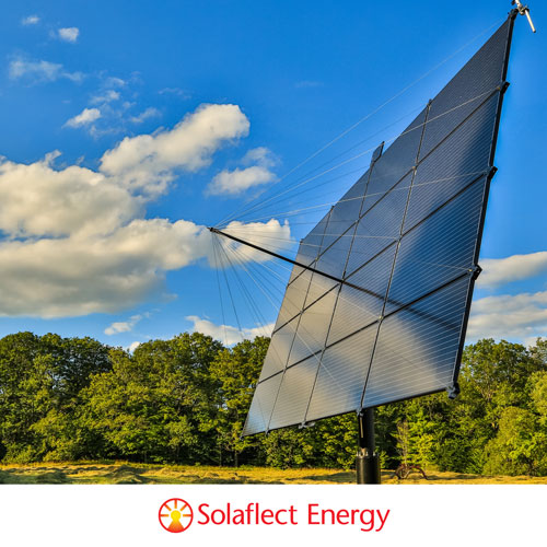 solar panel and blue sky with Solaflect company logo below