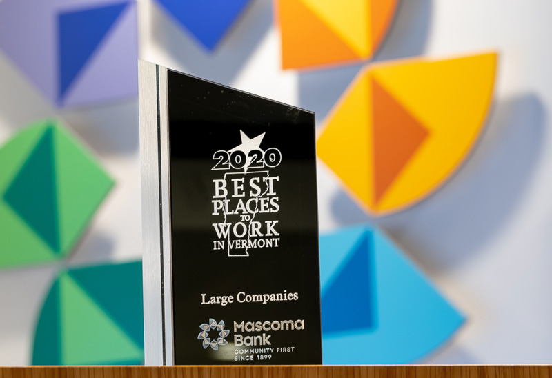 Award that states 2020 Best Places to Work in Vermont, Large Companies, Mascoma Bank